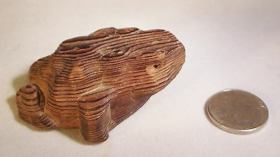 Vintage HAND CARVED CRYPTOMERIA WOOD FROG  TOAD JAPAN Wooden Art Deco