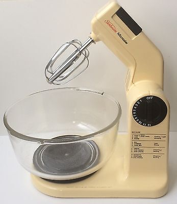 Vintage Sunbeam MixMaster Mixer W/ Glass Bowl & Beaters TESTED & WORKING!