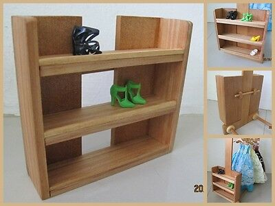 Lovely Wooden Wood Shoe Accessories Display Organizer Rack Shelf for Barbie Doll