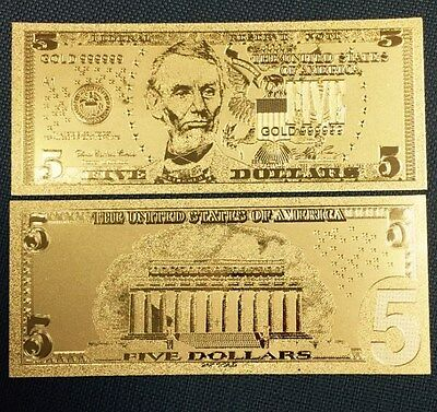 Beautiful Detail .999 24kt Gold US $5 Five Dollar Bill Banknote with Sleeve