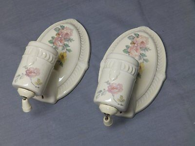 Vtg Pair Ceramic Ivory Porcelain Sconce Pink Rose Floral Light Fixtures 89-17E