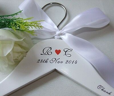 Custom Personalized White Wooden Wedding Hangers Dress Bride Bridal Party Gift