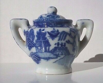 Vintage occupied Japan Blue Willow child's doll tea set sugar bowl replacement