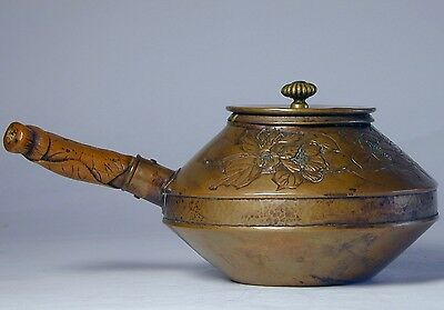 Amazing 18Th - 19Th Century Japanese Edo Period Carved Copper Teapot (Rare)