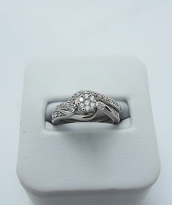 10Ct White Gold Diamond Bridal Set Of 2 Rings Valued @$1416 Comes With Valuation