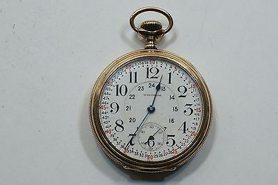 1913 Waltham Vanguard 23 Jewesl Pocket Watch Montgomery Dial Hinge Case 16S A636