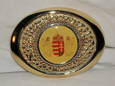 Vintage Hungary Hungarian Belt Buckle Shield Coat Of Arms Two Angels Holy Crown