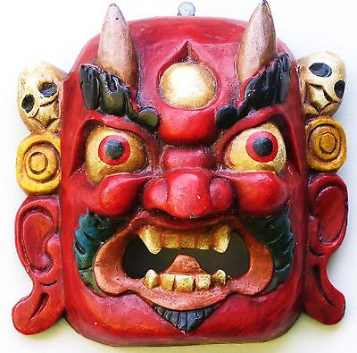 Nepalese Wooden Mask Nepal Hindu Mahakal Bhairab Protector God Carved Wood Red