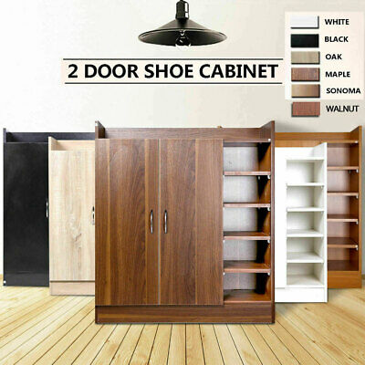 Shoe Cabinet Rack Storage Organiser Shelf 2 Doors Cupboard Up to 21 Pairs