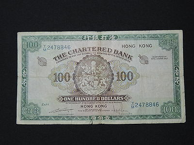 100 Hong Kong Dollar Bank Note The Chartered Bank No Date F Condition