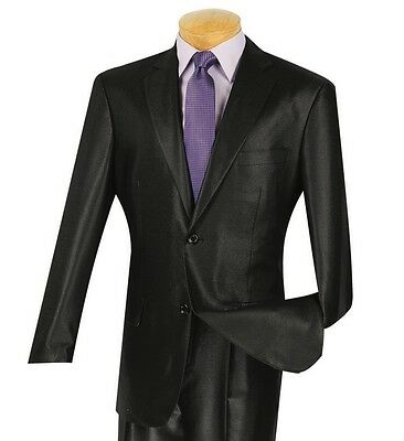 Men's Black Sharkskin 2 Button Classic Fit Suit NEW
