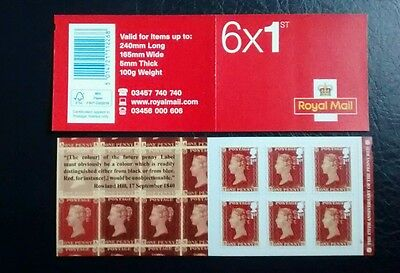 2016 Penny Red 175th Anniv 6 x 1st Self Adhesive Retail Cylinder Booklet