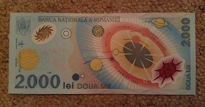 Romania Polymer Banknote. 2000 Lei. Uncirculated.