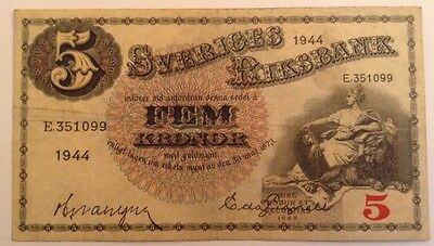 Sweden Banknote. 5 Kronor. Dated 1944