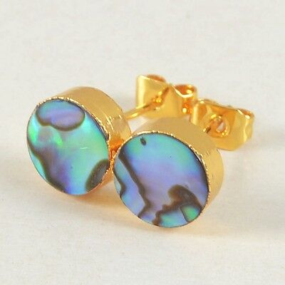 8mm Round Abalone Shell Stud Earrings Gold Plated B021420