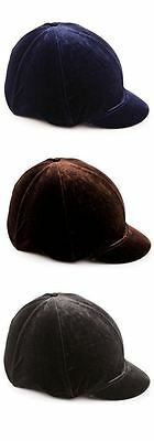Shires Velveteen Skull Cap Cover Black/Navy/Brown Velveteen - Two Sizes