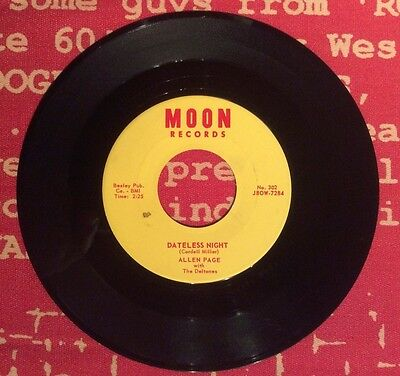 """ALLEN PAGE with The Deltones - """"DATELESS NIGHT"""" - 45rpm MOON J8OW-7- ULTRA RARE!"""