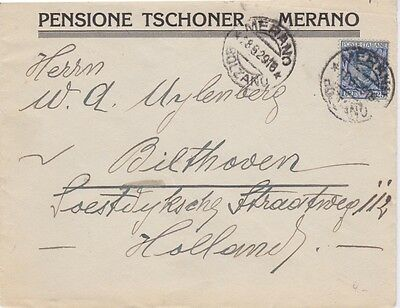 Italy-1929 1.25 Lire on Pensione Tschoner, Merano cover to Netherlands