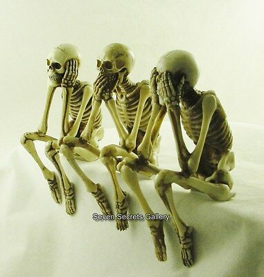 Three Wise Skeletons | Bone Colour | Gothic Figurines | Shelf Sitting Ornaments