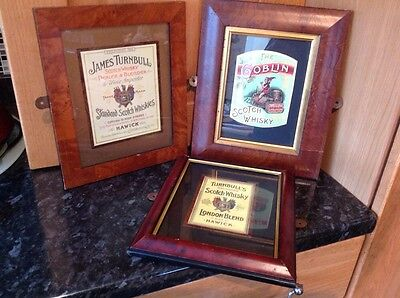 3 Scotch Whisky Framed Labels Inc Turnbull X 2 And Goblin