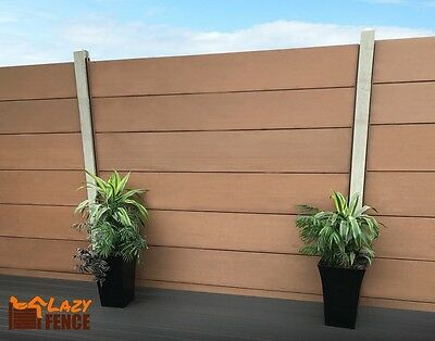 Lazy Fence STRONG ROT FREE No Stain WPC Composite 6FT FENCE PANEL KIT - Brown