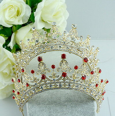 5cm High Red or Clear Crystal Wedding Bridal Party Pageant Prom Tiara - 2 Colors