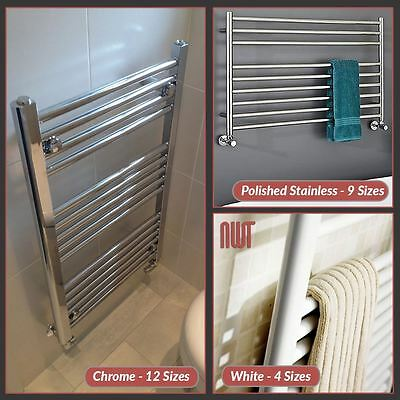 500mm(w) Heated Towel Rails Radiators, Straight & Curved, Chrome White Stainless