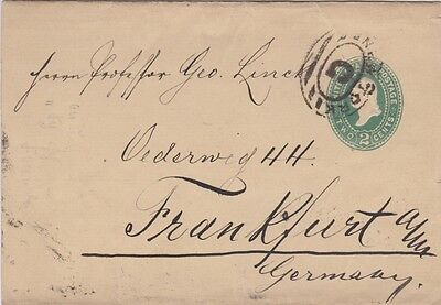 United States-1877 2c green Washington PS wrapper New York G cover to Germany