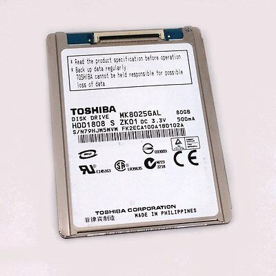 "1.8"" Toshiba 80gB ZIF / PATA Hard Drive Macbook Air / Dell D420 D430 MK8025GAL"