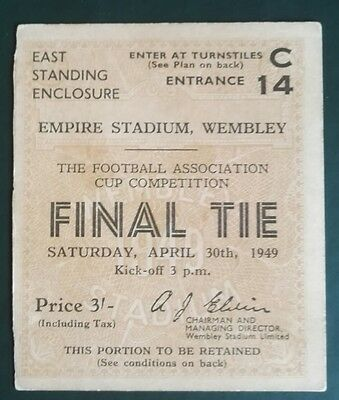 1949 F.A. CUP FINAL  FINAL MATCH TICKET - WEMBLEY  WOLVES vs. LEICESTER CITY