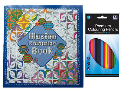 Illusion Adult Colouring Book with 15 Pencils Anti-Stress Art Therapy 24 x 22cm