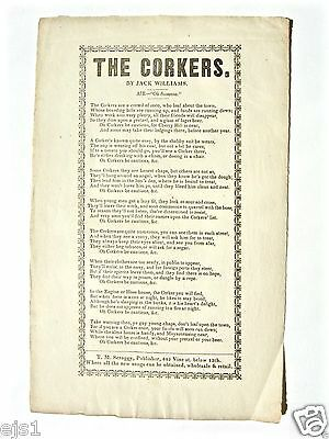 "Broadside ""The Corkers""/T M Scroggy Publ./1850s/Phila/anti-Irish/fire fighters"