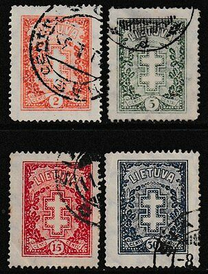 LITHUANIA 4 Very Old Stamps - Double Cross