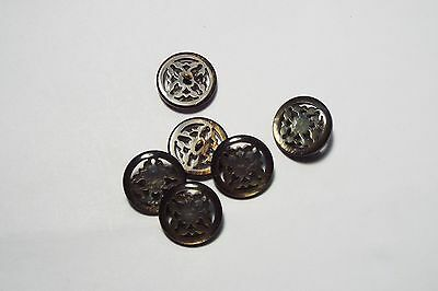 8pc 28mm Smokey Grey Faux Shell Effect Cardigan Kids Baby Button Bead 2954