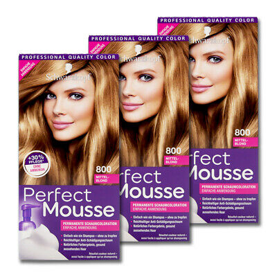 3x Schwarzkopf Perfect Mousse permanente Schaumcoloration Mittelblond Nr. 800