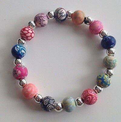 Viva Beads Hand Painted Stretch Clay Bracelet Multi Colour Silver Ball