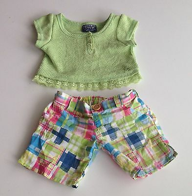 Build A Bear Clothes -  Limited Green Top and Plaid Shorts