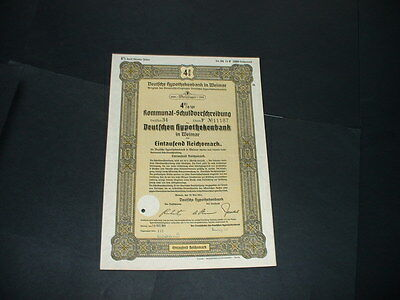 Original 30/3/41 Germany/weimar 1000 Reichmarks /embossed  State Seal