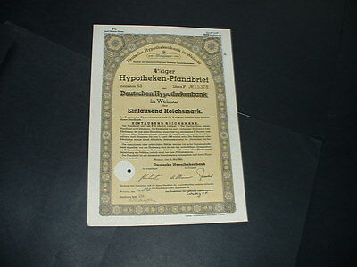 Original 15/3/41 Germany/weimar 1000 Reichmarks /embossed  State Seal