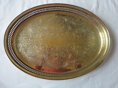 """Vintage  Brass Oval Galley Tray 16""""X 11 1/2"""" Ornate Etched Tray Serving Platter"""