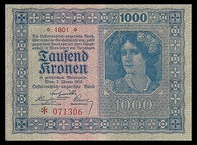 Austria P78, 1000 Kronen, 1922, woman with flowers in hair - uncirculated
