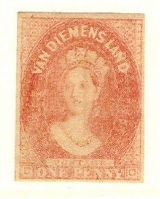 Tasmania 1857 1d pale red brown lightly mounted MINT SG 26