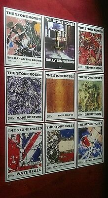The Stone Roses set of 9 rare prints/posters A3 best quality 300gsm art paper