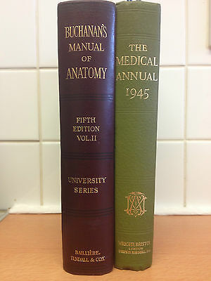 Vintage Doctors Books Buchanans Manual of Anatomy 1930 - The Medical Annual 1945