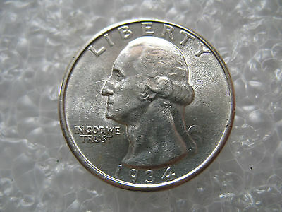 1934 Washington Silver Quarter 25-Cents Unc Condition