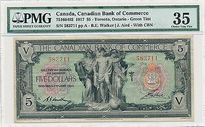 Canadian Bank of Commerce $5 1917 Green Tint PMG35 Choice Very Fine
