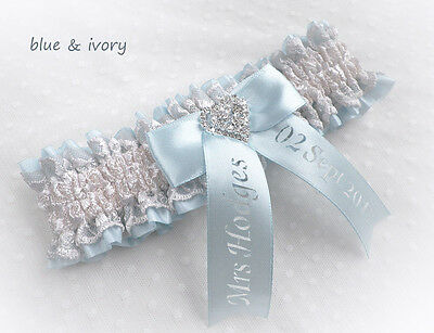 Blue Satin Light Ivory Lace  Bridal Personalized Garter Vintage Style