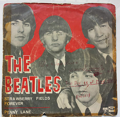 "The Beatles ""campos De Fresas /strawberry Fields Forever"" Rare Spanish 7"" Vinyl"
