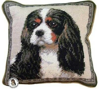 "Tri Color Cavalier King Charles Spaniel Dog Portrait - 10"" Needlepoint Dog Pillo"