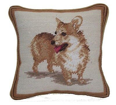 "Standing Welsh Corgi Dog Portrait - 10"" Needlepoint Dog Pillow"